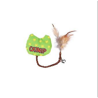 2Pcs toile verte plume d'herbe à chat drôle nœuds de chat, résistant à l'usure rongeant les fournitures de chat az4531
