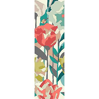 Verdaccio Outdoor Floral Coral Runner Rugs 442802 By Harlequin