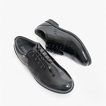 Start-Rite Brogue Snr Girls Leather Lace Up School Shoes Patent Black