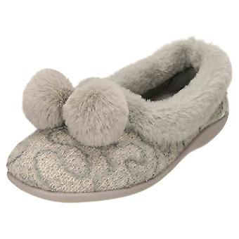 JWF Ballerina Slippers House Shoe Pom Pom Grey