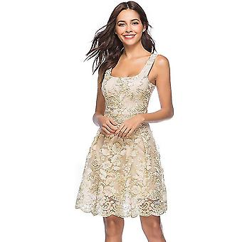 Abito sexy donna ricamo floreale spaghetti cinturino estate casual vintage festa a-line clubwear