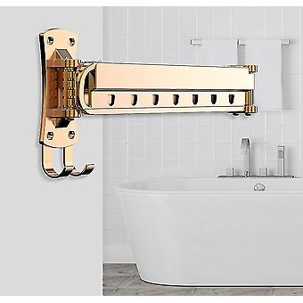 Folding Drying Rack Wall-Mounted Balcony Invisible Telescopic Drying Rack(Rose Gold)