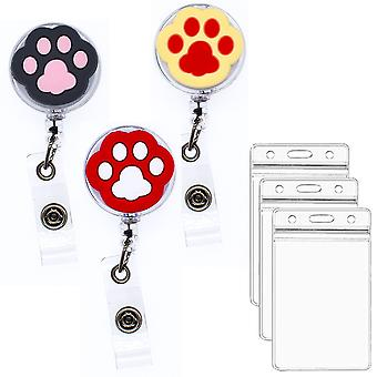 Leuyuan 3 Packs Retractable Reel With Id Card Holder Case (cat Paws)