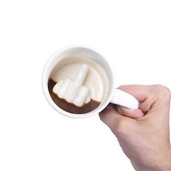 الإبداعية الأبيض نمط الاصبع الأوسط الجدة خلط القهوة الحليب كأس مضحك السيراميك القدح (أبيض)