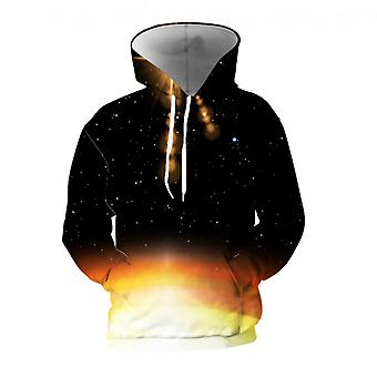 Mens 3d Colorful Galaxy Printed Black Hoodies With Pockets