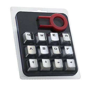 (Silver) 12Pcs/Set Mechanical Keyboard Gaming Keycap Backlit Keycaps With Keycap Puller