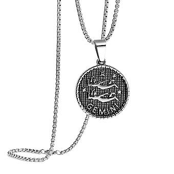 (Gemini (May 22 - Jun 21)) Zodiac Necklace,Coin Necklace,Horoscope Necklace,Astrology