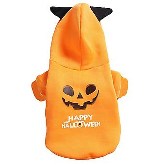 Dog Pet Halloween Pumpkin Hooded Costume Puppy Dogs Hoodie Clothes