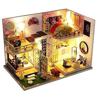 Casa de muñecas de madera de bricolaje ciudad china arquitectura casas de muñecas miniaturas con muebles juguetes para