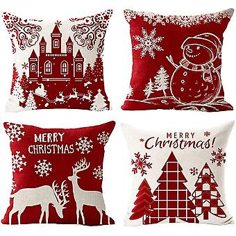 Christmas Pillow Covers 18 X 18inches Set Of 4 Cushion Cover Throw Pillow Covers