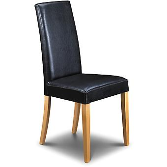 Trenbo Black Faux Leather Chair Sprung Seat Fully Assembled