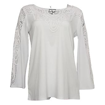 Antthony Women's Top Bracelet-Sleeve Crochet Knit Tunic White 716479