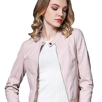 Mimigo Damen Kunstleder Jacken, Zip Up Motorrad kurze Pu Moto Biker Outwear ausgestattet schlanken Mantel schwarz rosa