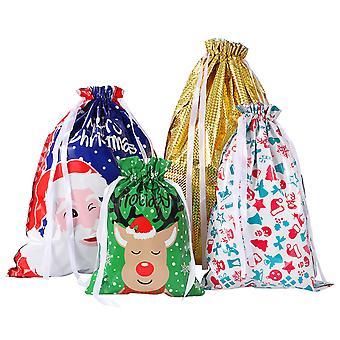 Tinksky 30kpl joulu kiristysnyöri lahjapussit valikoima tyylejä lahja kääre joulu goodie laukut joulujuhla häät