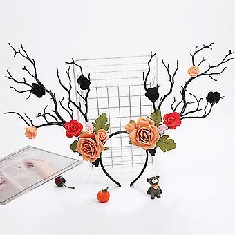 Evago Rose Flower Crown Pannebånd Halloween Chritmas Lang Gevir Blomstergrener Pannebånd Rekvisitter Horn Hodestykker HårBånd