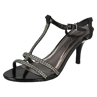 Ladies Anne Michelle Open Toe T-Bar Diamante Sandals