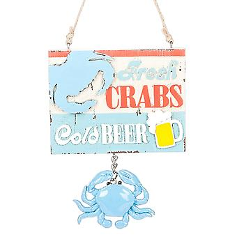 Fresh Crabs Cold Beer Blue Crab Sign Christmas Holiday Ornament