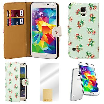 Flower book PU leather case cover for Samsung Galaxy S5 (SM-G900) - Mint Green
