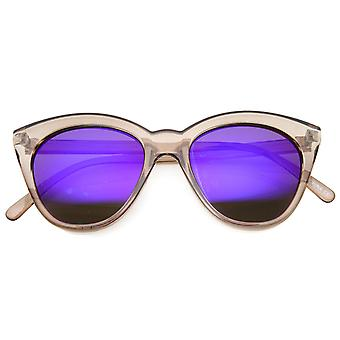 Women's Crystal Translucent Frame Flash Mirror Lens Round Cat Eye Sunglasses 52mm