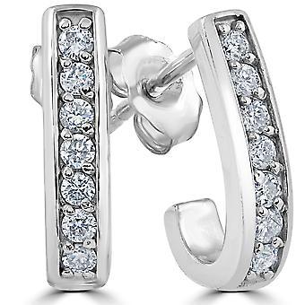 """G/SI 1 / 3ct diamant créoles en or blanc 14K 1/2"""" hauteur"""