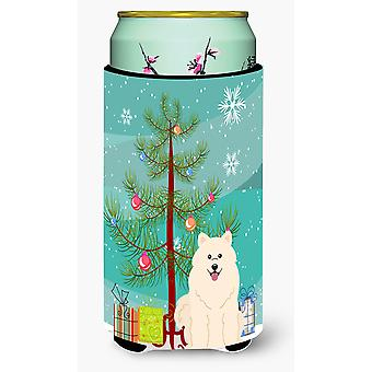 Merry Christmas Tree samojeda wysoki chłopiec napojów izolator Hugger