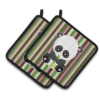 Carolines tesoros BB6803PTHD bambú flauta Panda par de agarraderas