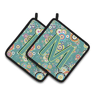 Letter M Circle Circle Teal Initial Alphabet Pair of Pot Holders