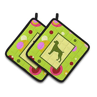 Lime Green Dots German Shorthaired Pointer Pair of Pot Holders