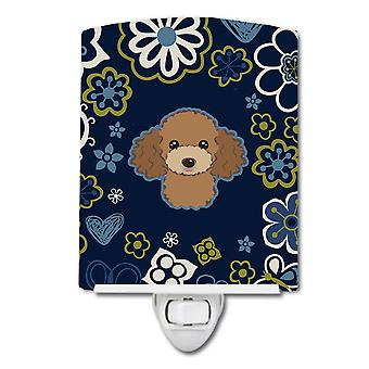 Blue Flowers Chocolate Brown Poodle Ceramic Night Light