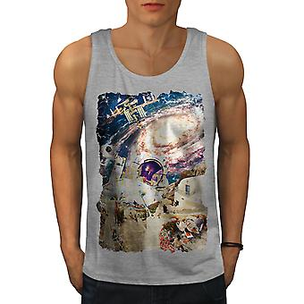 Galaxy Earth Cosmos Men GreyTank Top | Wellcoda