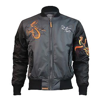 Top Gun Flying Legend Bomber Jacket Charcoal