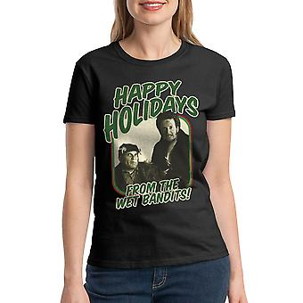 Home Alone Happy Holidays Wet Bandits Women's Black T-shirt
