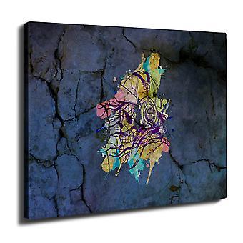 Skull Beat Dance Music Wall Art Canvas 40cm x 30cm | Wellcoda
