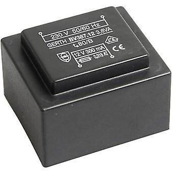 Gerth PTG380601 PCB mount transformer 1 x 230 V 1 x 6 V AC 3.60 VA 600 mA