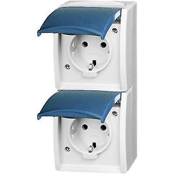 Busch-Jaeger 20-02 EW-53 Wet room switch product range Twin socket Ocean (surface-mount) Blue-green