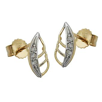 Leaf earrings gold earrings 375 gold plug sheet bicolor cubic zirconia, 9 KT GOLD