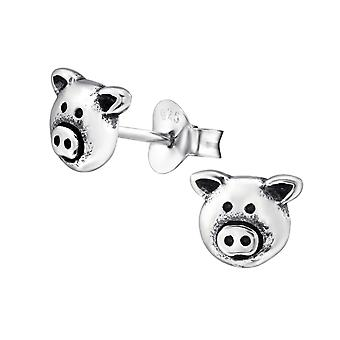 Pig Face - 925 Sterling Silver Plain Ear Studs - W28256x