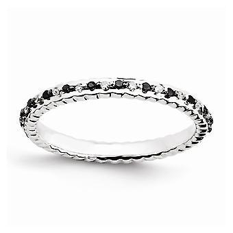 925 Sterling Sølv Polert Prong sett Mønstret Stackable Uttrykk Svart og Hvit Diamant Ring Smykker Gaver for Wo