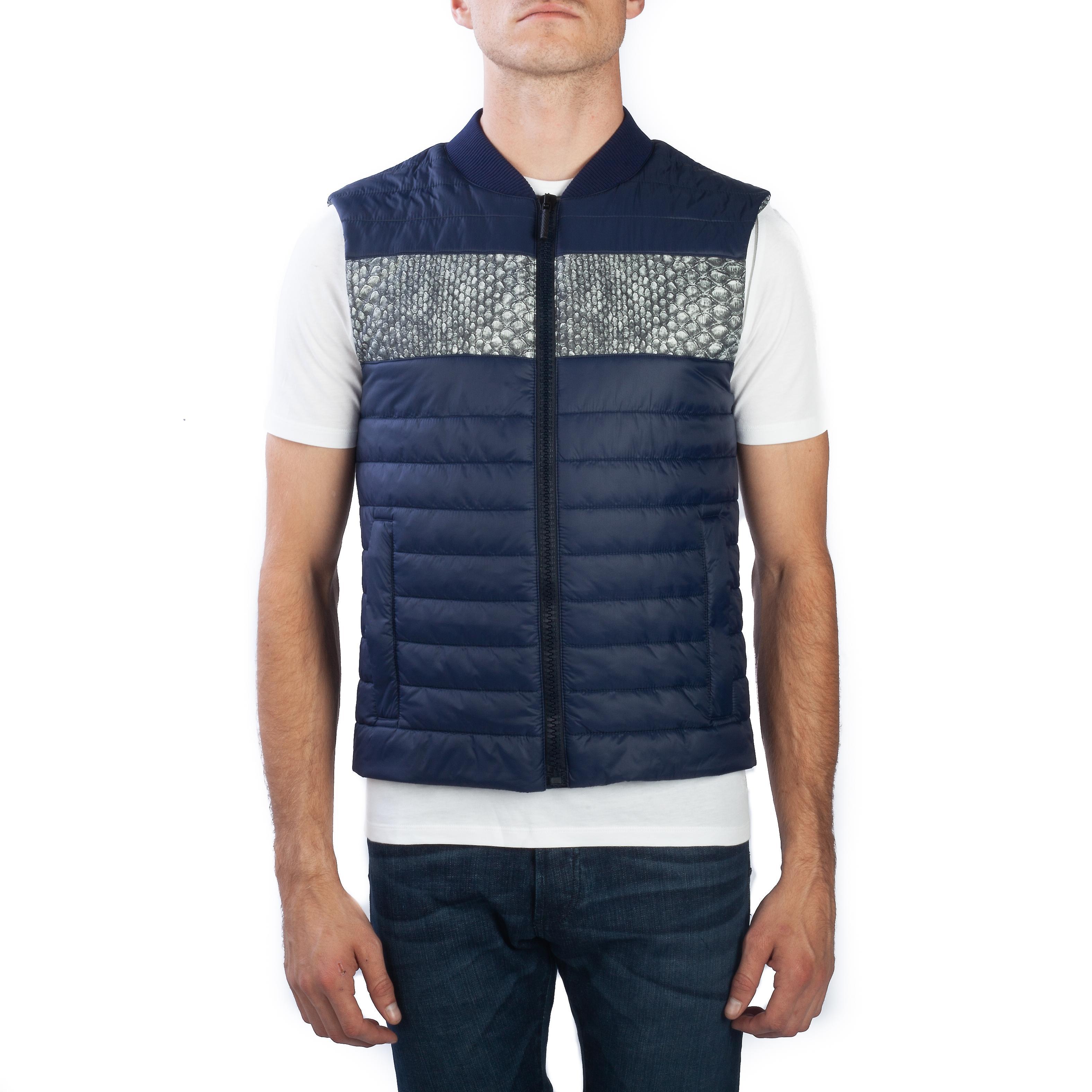 Roberto Cavalli Men Puffer Vest Jacket Navy