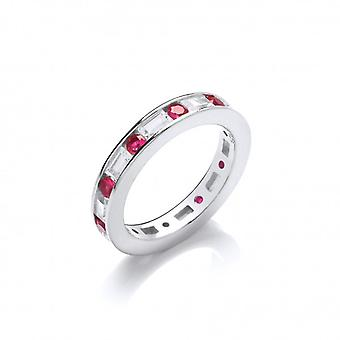 Cavendish French Silver and Ruby CZ Band Ring