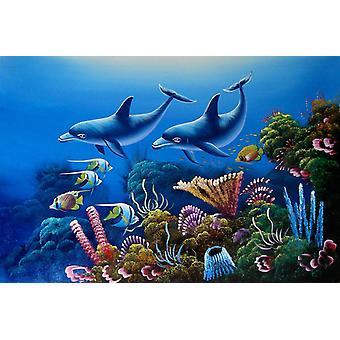 Dolphin, handmålad oljemålning på duk, 90x60 cm