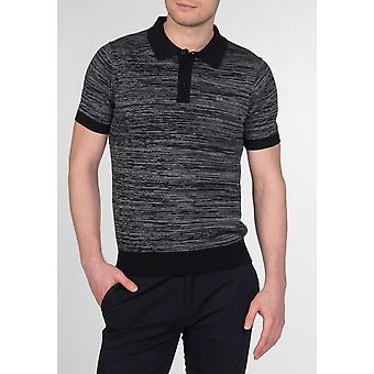 Merc ACTON, men's cotton space dye knit polo with short sleeves and 3 front buttons