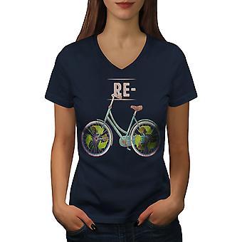 Recycle Global Green Women NavyV-Neck T-shirt | Wellcoda