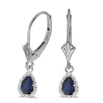 LXR 14k or blanc Pear Saphir et diamants boucles d'oreilles Leverback 1 ct