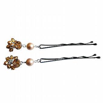 Powder Almond Pearls & Swarovski Crystals Bobby Pin Bridal Hair Pin