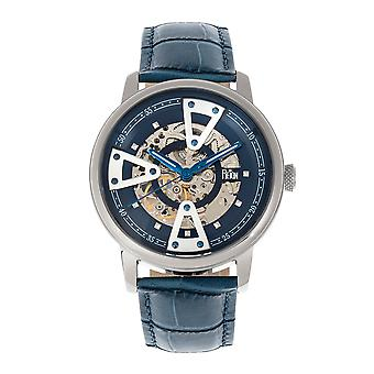 Reign Belfour Automatic Skeleton Leather-Band Watch - Silver/Blue