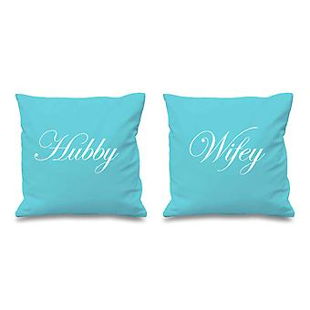 Hubby Wifey Aqua Cushion Covers 16