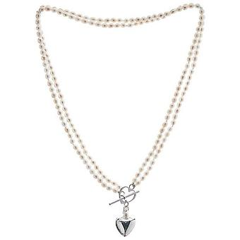 Pearls of the Orient Double Strand Freshwater Pearl Heart Charm Necklace - White/Silver