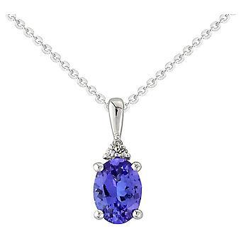Mark Milton Diamond and Tanzanite Oval Pendant - Purple/Silver