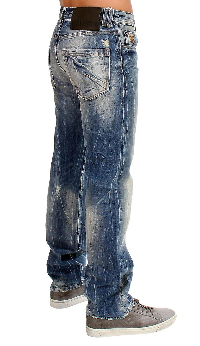 Blue washed cotton jeans